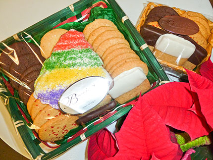 holiday cookies in gift baskets