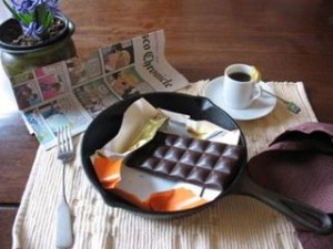 Chocolate and newspaper